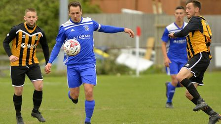 Godmanchester Rovers captain Micky Hyem in action against Great Yarmouth. Picture: DUNCAN LAMONT