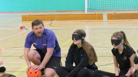 Nick Burr taught Bassingbourn Village College students how to play goalball. Picture: BVC