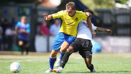 Ben Herd in action for St Albans City against Hungerford Town earlier this season. Picture: Karyn Ha
