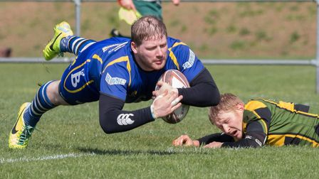 Paul Ashbridge touches down for a St Ives try during the Hunts & Peterborough Cup final. Picture: PA