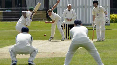 Michael Speed bowling for St Ives & Warboys in the victory against Castor & Ailsworth. Picture: DUNC