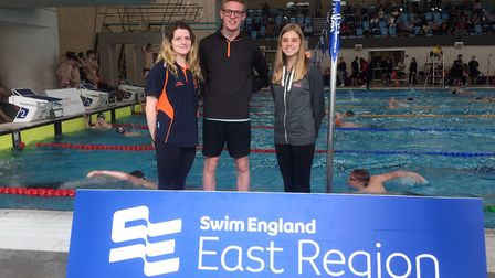 St Ives Swimming Club star James Quinn with clubmates Fran Crocker (left) and Chloe Buter (right). P