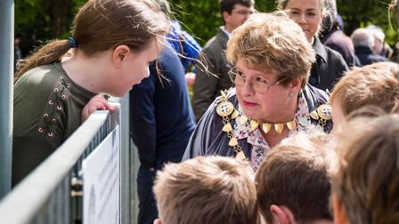 St Albans Mayor Cllr Rosemary Farmer cut the ribbon to unveil a plaque at Victoria Playing Fields in