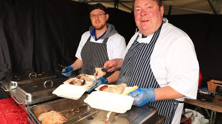 The Hog Roast wafts across the Priory Memorial Gardens during the Royston May Fayre 2019. Picture: K