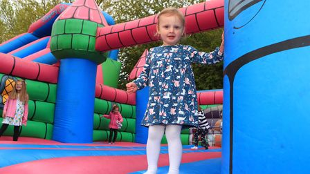 Loving the Bouncy Castle is Mila at the Royston May Fayre 2019. Picture: KEVIN RICHARDS