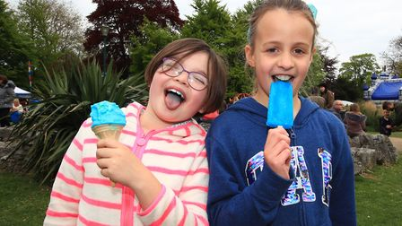 My kind of Bluetooth, Katie and Imogen enjoying their ice lollies at the Royston May Fayre 2019. Pic