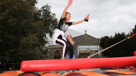 Lucy competes in the free event of Last Man Standing at the Royston May Fayre 2019. Picture: KEVIN R