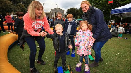 Mum's Emma and Kate enjoying Circus Whizz with Lewis, Elliot, Dylan and Emily at the Royston May Fay