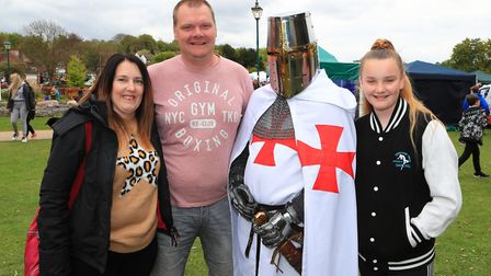 Emma, Mike and Amelia pose with Geoff the Knight from the TV Aviva Insurance advert at the Royston M