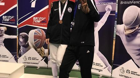 St Albans' Nathalie Culkin with coach Leo Suarez after clinching the bronze medal at the British You