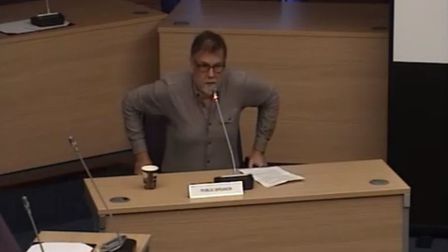Cllr David Mitchell at the Planning Policy Committee. Picture: SADC webcast