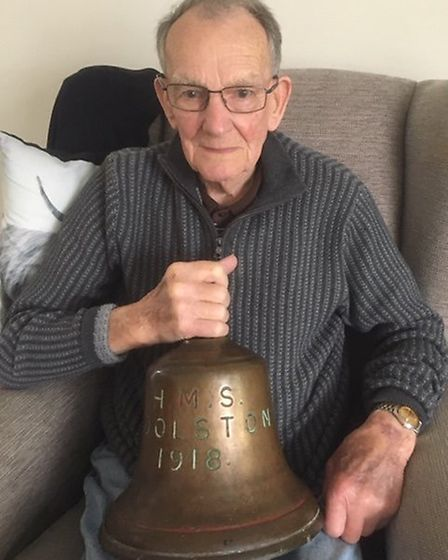 Frank Witton from St Albans with the bell from HMS Woolston. Picture: Alan Witton