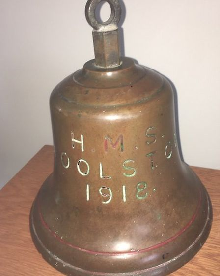 Frank Witton from St Albans was reunited with the bell from HMS Woolston. Picture: Alan Witton