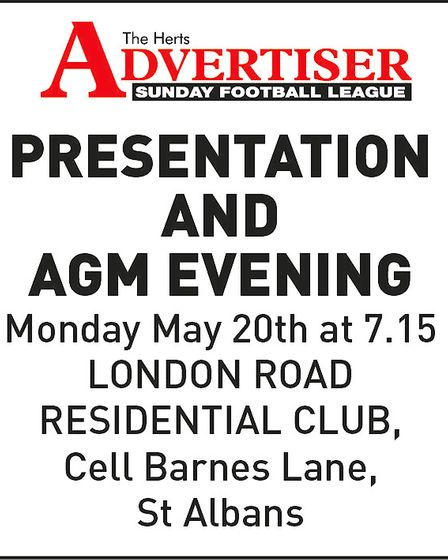 Poster for the 2019 Herts Ad Sunday League AGM and presentation evening