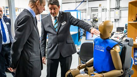 The Duke of Kent with one of Cellbond's crash test dummies. Picture: MARK HOLMES