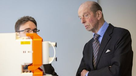 The Duke of Kent is given a demonstration at 42 Technology. Picture: DAVID JOHNSON PHOTOGRAPHIC