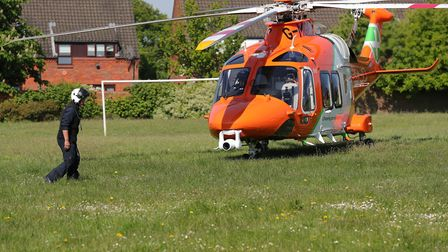 The air ambulance near Drakes Drive in St Albans. Picture: Jim Whittamore