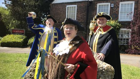 Mayor of St Albans Cllr Rosemary Farmer prepares for the traditional Beating the Bounds ceremony. Pi