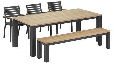 Dine Out In Style Kettler Elba 6-Seat Metal and Teak Dining Set, 1,349, Dobbies. Picture: Dobbies/P