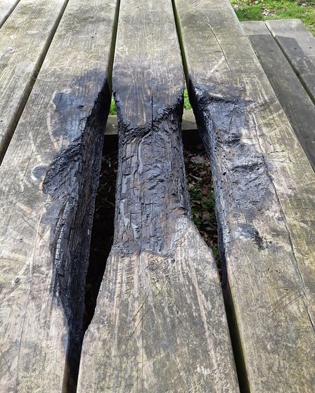 The vandalised bench in Batchwood. Picture: Miles Soppet