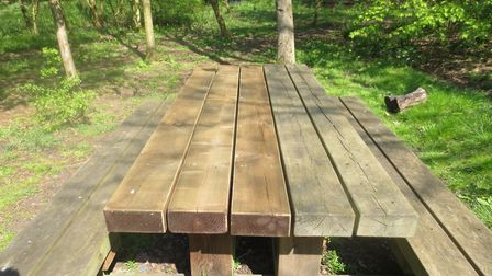 The repaired bench in Batchwood. Picture: Miles Soppet