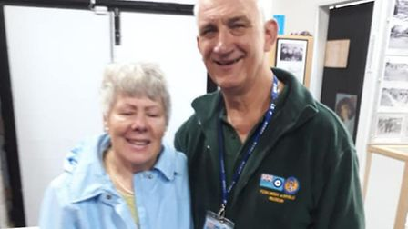 Theresa Moody and Henry Sterecki at Fowlmere Airfield Museum. Picture: Mark Donagain