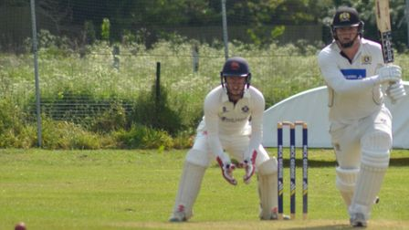 Eaton Socon skipper Jonny Carpenter on his way to a century in their victory against Histon. Picture