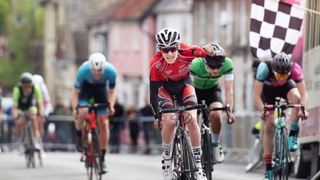 St Ives Cycling Club rider Sean Purser celebrates his Ixworth Criteriums success. Picture: NATHANIEL