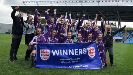 St Ivo Academy Under 16 Girls celebrate their latest national triumph. Picture: SUBMITTED