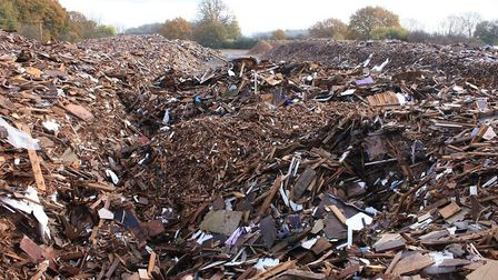 The illegal waste wood site at Great Staughton, near St Neots
