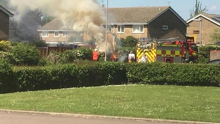 Firefighters used small gear and a hose reel to extinguish the fire, before returning to their stati