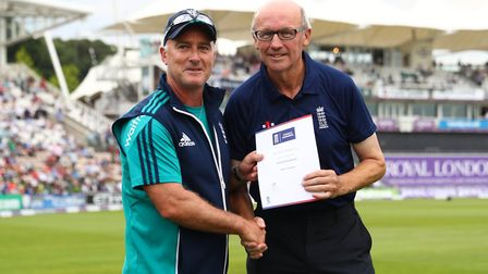 Kevin Clement, the Head of Cricket at Godmanchester Town (right) with former England star Graham Tho