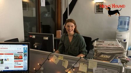 Presenter Franki Berry at the Herts Ad office, as seen in episode five of NewsHound. Picture: Archan