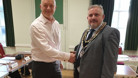 New Royston town mayor Robert Inwood with his predecessor Iain Leggett. Picture: Royston Town Counci