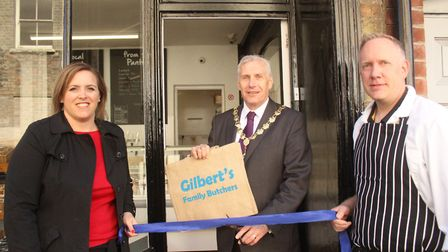 Andrea and Andy Gilbert with Cllr Barry Chapman. Picture: ARCHANT