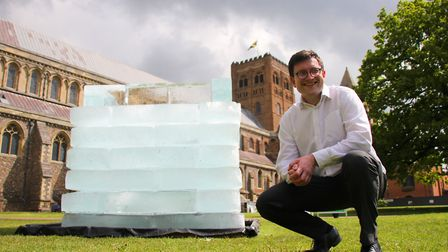 Jake Rigg, Affinity Water' director of communications with the block of ice 'The Cold Hard Truth' at