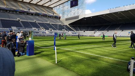 Saracens check out the St James' Park pitch prior to the Heineken Cup final against Leinster.