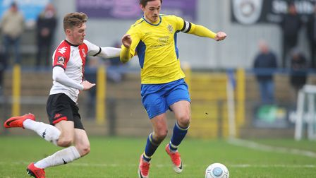 Tom Bender in action for St Albans City. Picture: Karyn Haddon