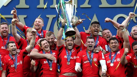 Saracens celebrate with the trophy during the Champions Cup Final at St James' Park, Newcastle. Pict