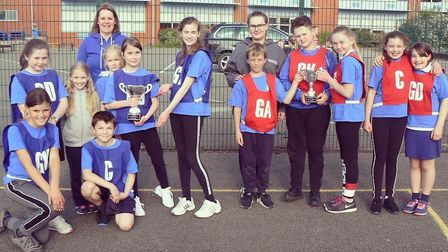 The Great Gidding CofE Primary School teams who enjoyed success in the High 5 Netball event. Picture