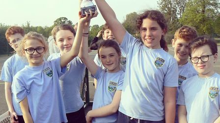 Kimbolton Primary Academy show off their High 5 Netball trophy. Picture: SUBMITTED