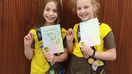Little Paxton Brownies Alexa Haupt and Freya Sherwood received their Gold Awards