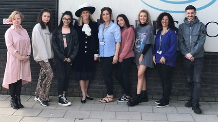 Students at Oaklands College in St Albans designed a dress for High Sheriff of Hertfordshire Sarah B