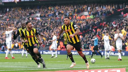 Troy Deeney celebrates scoring Watford's second goal in the FA Cup semi-final against Wolves. Pictur