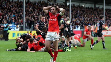 Saracens' Marcelo Bosch looks dejected after Sam Simmonds' late try in 2017. Picture: DAVID DAVIES/P