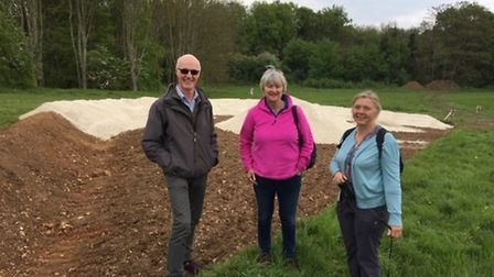 Butterfly Conservation group members Dr Phil Sterling, Mandy Floyd and Sharon Hearle at the chalk pi