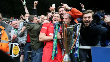 Saracens Alex Goode celebrates with fans after the Champions Cup Final at St James' Park, Newcastle.