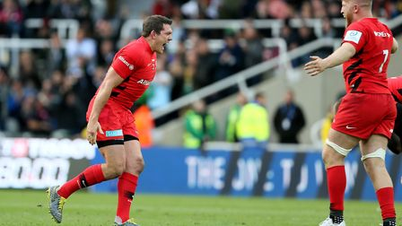 Saracens Alex Goode and Saracens Jackson Wray celebrate after the Champions Cup Final at St James' P