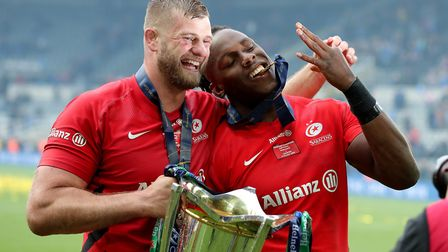 Saracens George Kruis and Saracens Maro Itoje celebrates winning the Champions Cup Final at St James