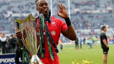 Saracens Maro Itoje celebrates winning the Champions Cup Final at St James' Park, Newcastle. Picture